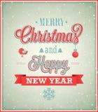 DES tipográfico do Feliz Natal e do ano novo feliz Fotos de Stock Royalty Free