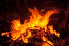 Des torches chaudes et romantiques de burning de feu de camp Photos stock