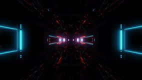 Des Tunnelkorridors 3d der futuristischen Wissenschafterfindungslichter glühender Schleifensichthintergrund vj Illustration stock footage