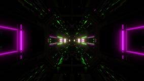 Des Tunnelkorridors 3d der futuristischen Wissenschafterfindungslichter glühender Schleifensichthintergrund vj Illustration stock video footage