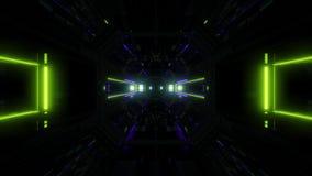 Des Tunnelkorridors 3d der futuristischen Wissenschafterfindungslichter glühender Schleifensichthintergrund vj Illustration stock video