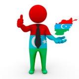 des Turques des personnes 3d dans l'homme d'affaires de l'Afghanistan - tracez le drapeau des Turcs en Afghanistan-Afghanistan Tu Illustration Stock