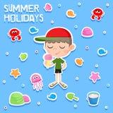 Des vacances d'été - petit garçon et crème glacée - l'autocollant adorable a placé - échouez les éléments de partie Photo stock
