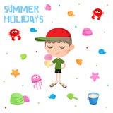 Des vacances d'été - petit garçon et crème glacée - l'autocollant adorable a placé - échouez les éléments de partie Image stock