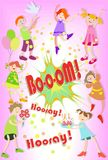 Des vacances du ` s d'enfants Anniversaire Groupe gai d'enfants Illustration Libre de Droits