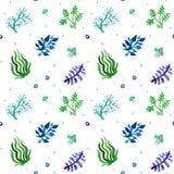 Des Vektormusters der Aquarellnatur nahtlose, grüne Farben (Blaues, hellblaues,) Gras- und Betriebsmuster stock abbildung