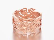 des Verpflichtungs-Hochzeitsbandes der Illustration 3D rosafarbener Goldeinzigartiger Ring Stockbilder