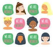 Des visages et slogan de femme nous sommes des femmes Femelles de différentes nationalités Filles drôles pour la conception du fé illustration libre de droits
