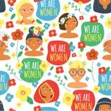 Des visages et slogan de femme nous sommes des femmes Modèle de Seampless avec des femelles de différentes nationalités, fleurs F illustration de vecteur