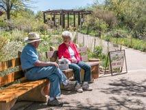 Des visiteurs plus âgés détendent sur des bancs la journée de printemps chez Tohono Chul Park, Tucson Image stock