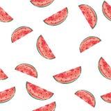 Des Wassermelonen-nahtloser Muster-Beschaffenheits-Handabgehobenen betrages Vektor des Aquarell-Effekt-EPS10 lizenzfreie stockfotos