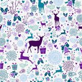 Des Weinleseelements der frohen Weihnachten nahtloses Muster Lizenzfreie Stockfotografie
