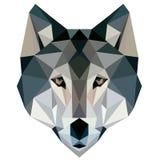 Des Wolfs Polydesigngeometrische Tierillustrationsgesichts-Logoikone niedrig Lizenzfreies Stockbild