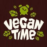 Des Zeit-Logos des strengen Vegetariers gesundes Emblem verlässt grüne natürliche Bestandteile des biologischen Lebensmittels ste lizenzfreie stockbilder