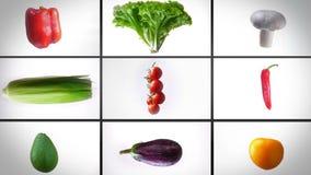 Des Zooms Montage heraus des Spinnens des nassen Gemüses, auf einem weißen Hintergrund, Collage stock footage