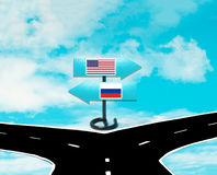Desacordos entre os E.U. e a Rússia Imagens de Stock Royalty Free
