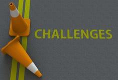 Desafíos, mensaje en el camino imagen de archivo libre de regalías