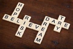 Desafio para tentar - palavras cruzadas inspiradores Fotografia de Stock