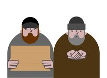 Desamparados y cartulina Mendigos y placa en blanco, pobres hobo del vago libre illustration