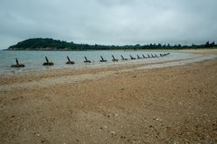 Desantowa ochrona na plaży w Mashan na Kinmen wyspie, Tajwan fotografia royalty free