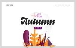 Desantowa strona - Cześć jesień, dla szkoły, jesieni sprzedaże, liście na tle Obrazy Royalty Free