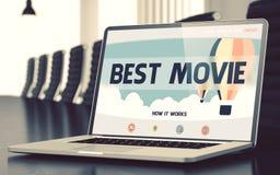 Desantowa strona laptop z Najlepszy filmu pojęciem 3d Obraz Stock