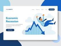 Desantowy strona szablon biznesmen z Ekonomicznej recesji ilustracji pojęciem Nowożytny płaski projekta pojęcie strona internetow ilustracja wektor