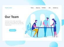 Desantowy strona szablon pracy drużyna Dyskusja firmy ` s strategia biznesowa Nowożytny płaski projekta pojęcie sieć ilustracja wektor