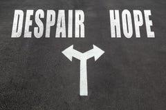 Desapair vs hope choice concept. Two direction arrows on asphalt Stock Photo