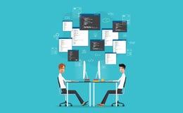 Desarrollador del vector que trabaja en lugar de trabajo conviértase para el sitio web y el uso ilustración del vector