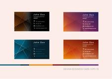 Desarrollo creativo de las tarjetas de visita en una diversa solución del color ilustración del vector