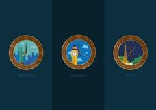 Desarrollo de iconos en el tema del viaje y el tiempo en diversas ciudades del mundo libre illustration