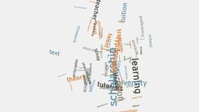 Desarrollo de la habilidad y educación escolar que aprende tipografía de la palabra Fotos de archivo