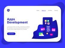 Desarrollo de los Apps con el teléfono ilustración del vector