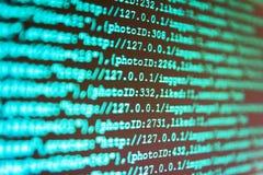 Desarrollo de programas del WWW Desarrollo de programas Código programado del desarrollador de Python Primer del código fuente fotografía de archivo