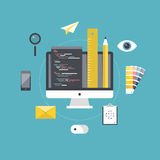 Desarrollo del diseño web y de programación ilustración del vector