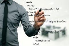 Desarrollo del sitio web - código de la escritura del programador imagen de archivo