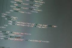 Desarrollo del sitio web - código programado en la pantalla de ordenador Imagen de archivo