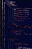 Desarrollo del sitio web - código programado en la pantalla de ordenador Foto de archivo libre de regalías