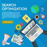Desarrollo del sitio web, optimización del Search Engine Elementos y márketing del analytics del web Experto en SEO Lugares de tr ilustración del vector