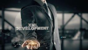 Desarrollo del XML con concepto del hombre de negocios del holograma metrajes