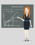 Desarrollo económico de la presentación de la mujer de negocios ilustración del vector