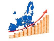 Desarrollo económico en el concepto de la unión europea, representación 3D libre illustration