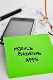 Desarrollo móvil de los apps de las actividades bancarias Imagenes de archivo