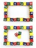 Desarrollo que aprende bloques del alfabeto Imágenes de archivo libres de regalías