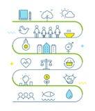 Desarrollo sostenible y línea viva sostenible Art Vector Illustration del mapa itinerario de la puesta en práctica Imágenes de archivo libres de regalías