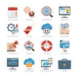Desarrollo web y SEO Flat Icons Set Fotos de archivo