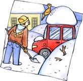 Desastre da queda de neve ilustração royalty free