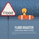 Desastre de inundación con el titular de advertencia y el perro de la inundación en salvavidas en la inundación