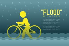 Desastre de inundación del pictograma de los iconos del hombre con el ejemplo infographic del diseño de la bicicleta ilustración del vector
